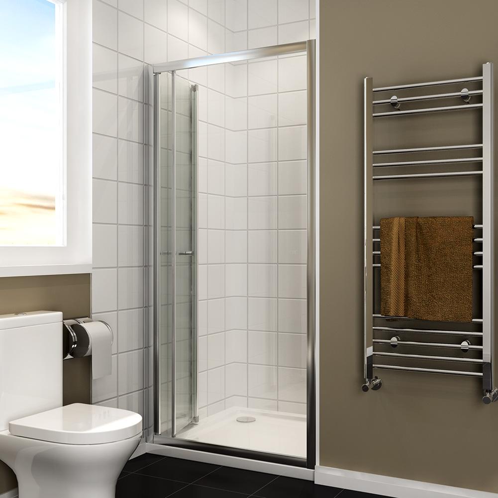 Bifold Shower Door Enclosure Glass Screen Panel Stone Tray