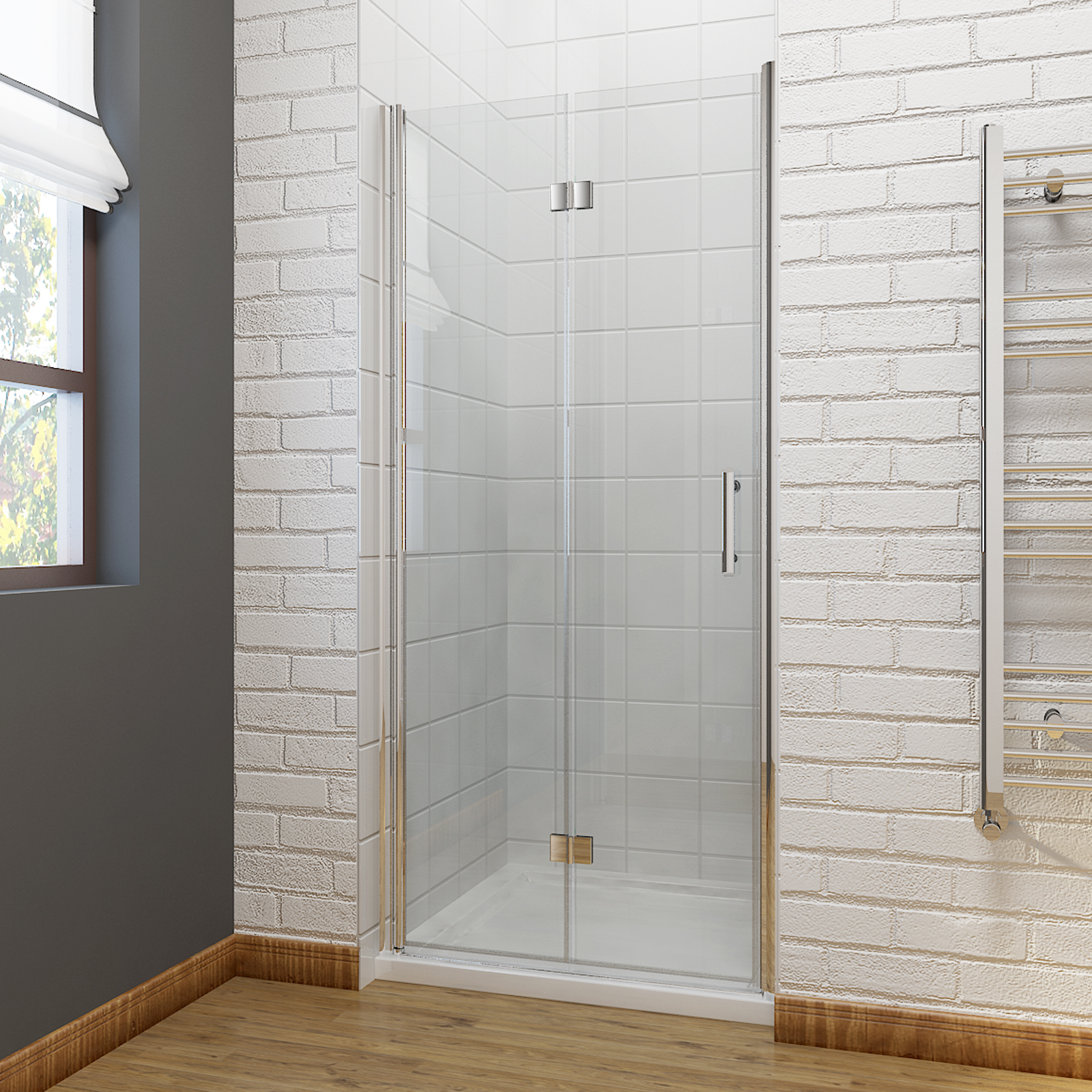 Frameless bifold shower door enclosure 6mm glass screen for 1000 bi fold shower door