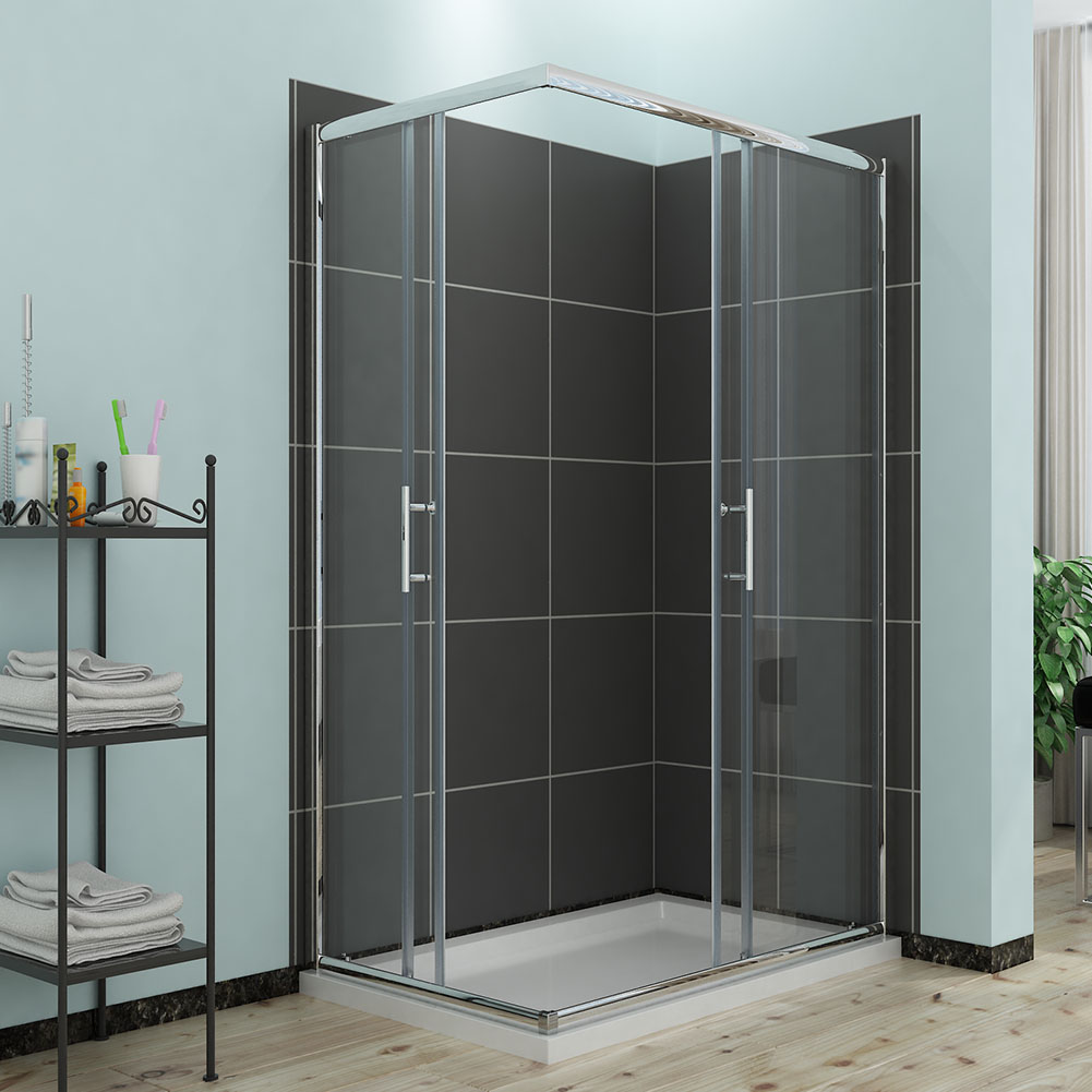New 1200x900mm corner entry shower enclosure and tray for Sliding glass doors corner