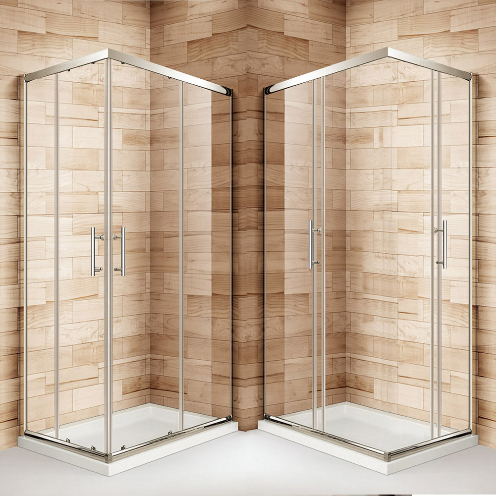 Double single sliding quadrant corner entry shower door for Corner sliding glass doors
