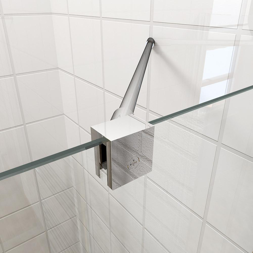 Pivot frameless corner entry shower enclosure and tray for Frameless corner shower enclosure