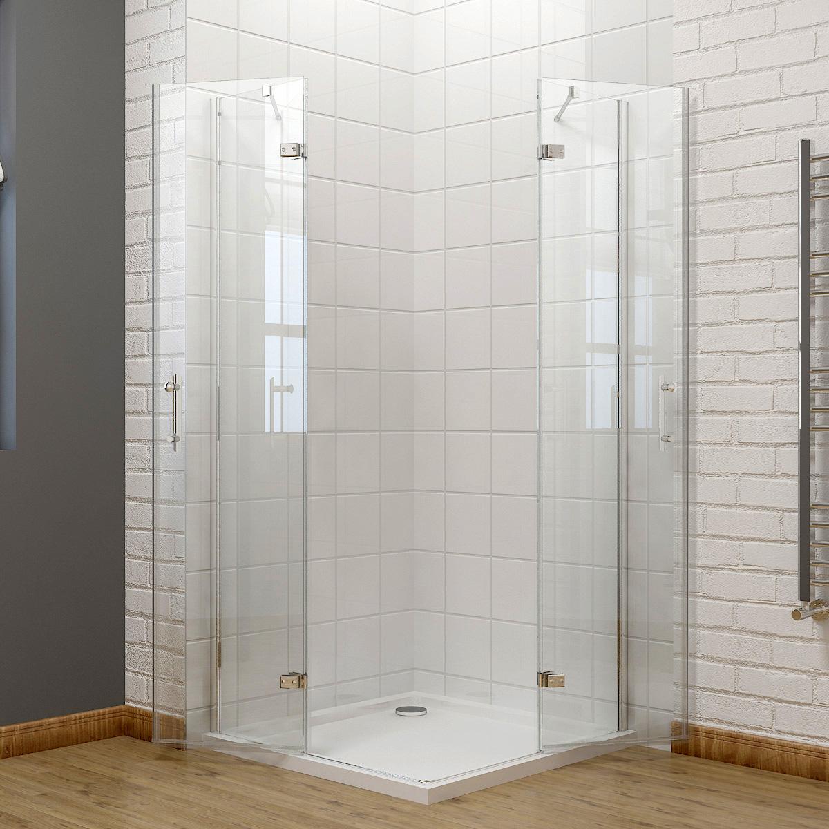 Frameless Hinge Corner Entry Shower Enclosure Glass Screen