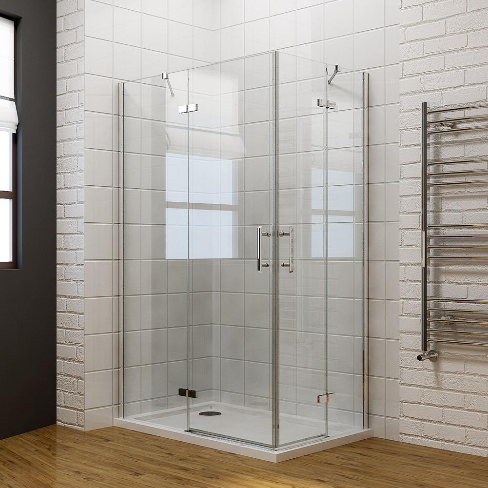 Quadrant corner entry cubicle shower enclosure and tray for Frameless corner shower enclosure