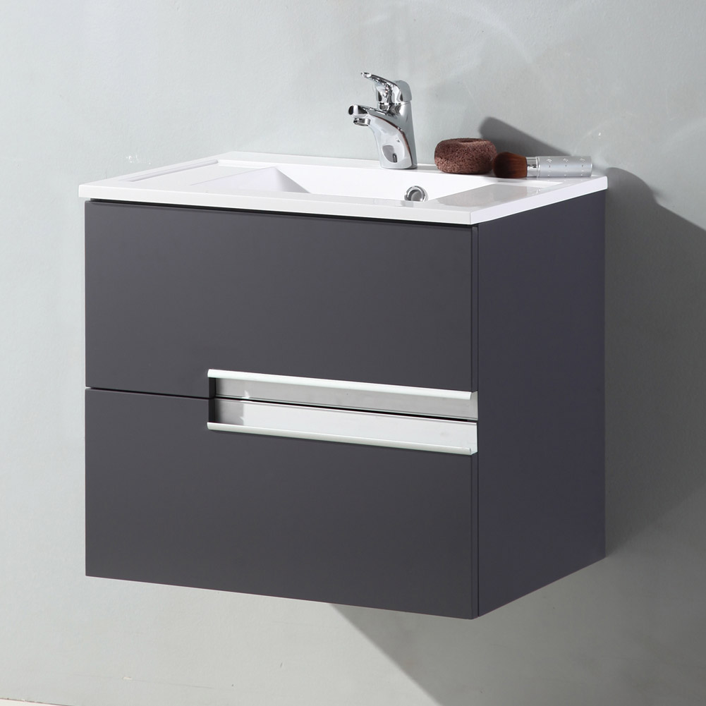 Modern Bathroom Vanity Unit Basin Sink Unit 2 Drawer Storage Cabinet Furnitur
