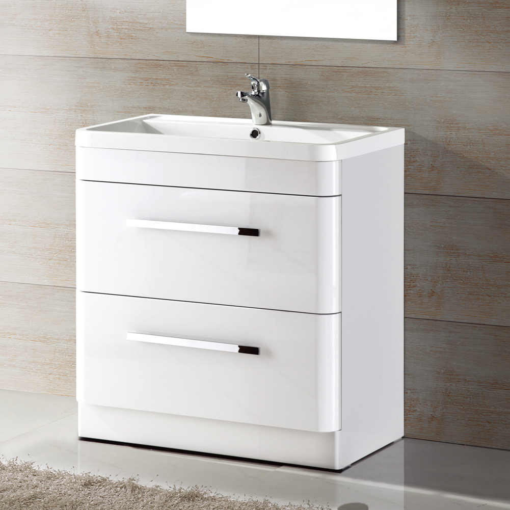 Modern White Gloss Bathroom Vanity Unit Basin Sink Cabinets Furniture Storage
