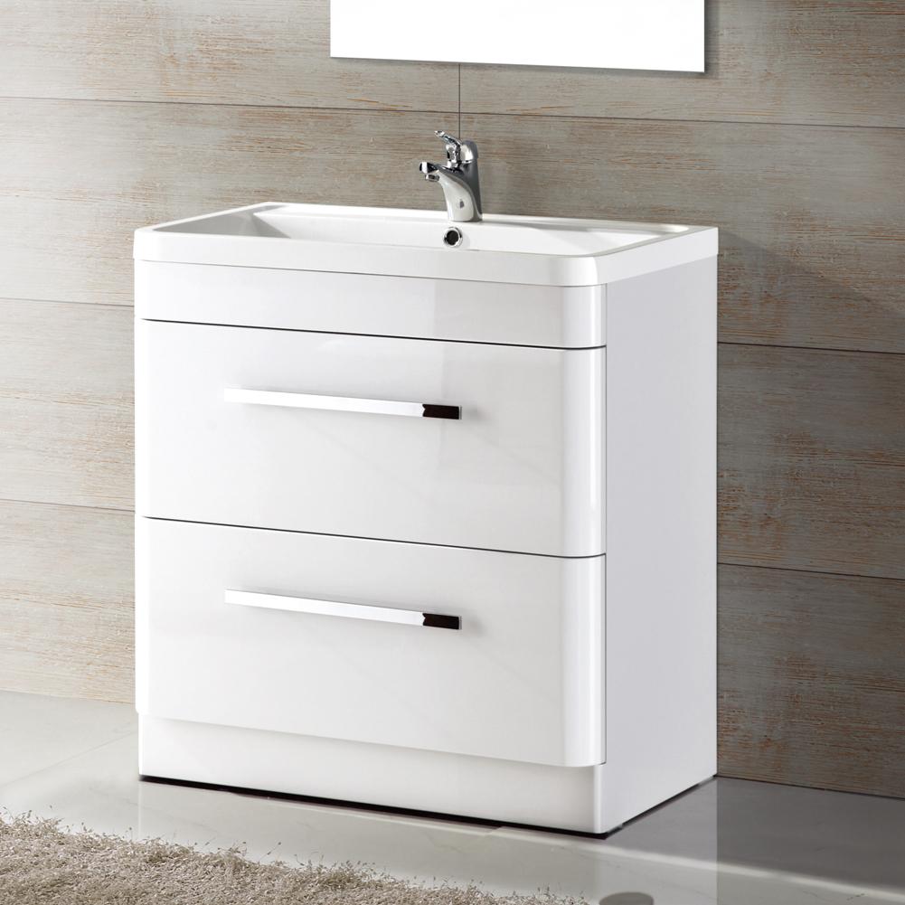 Modern white gloss bathroom vanity unit basin sink - White gloss bathroom vanity unit ...