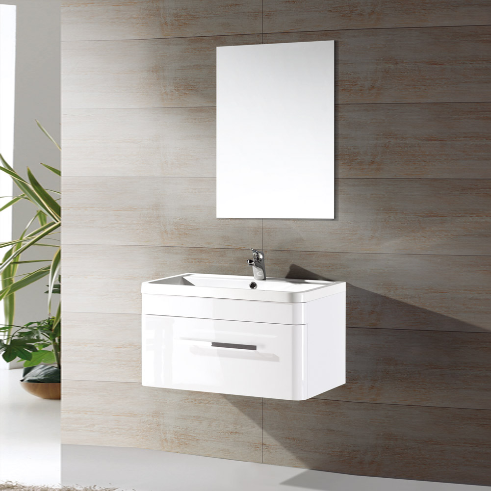 Modern 800mm wall hung white vanity unit furniture cabinet for Bathroom cabinets 800mm high
