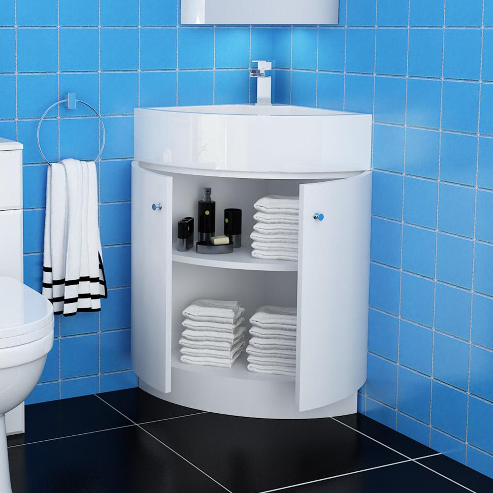 modern bathroom corner vanity unit white cabinet basin floorstanding