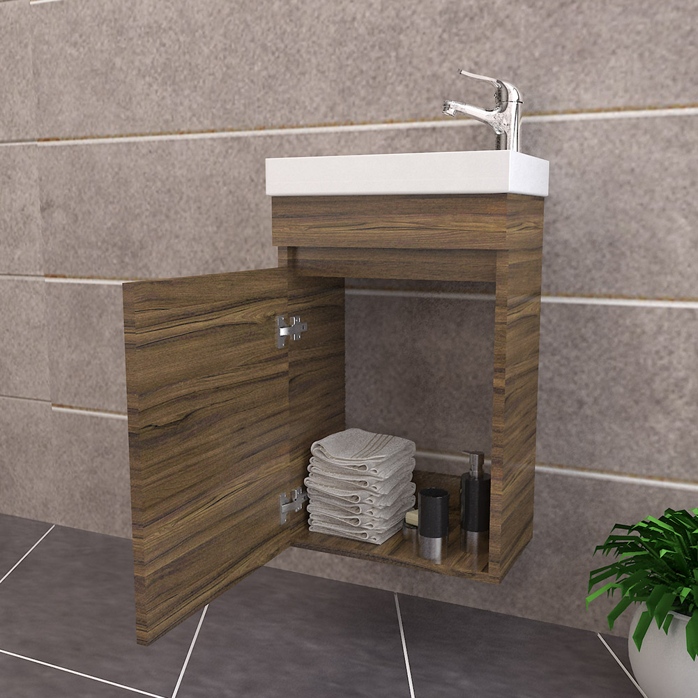 Walnut bathroom furniture wall hung sink cabinet vanity basin unit - Cherry finish bathroom wall cabinet design ...