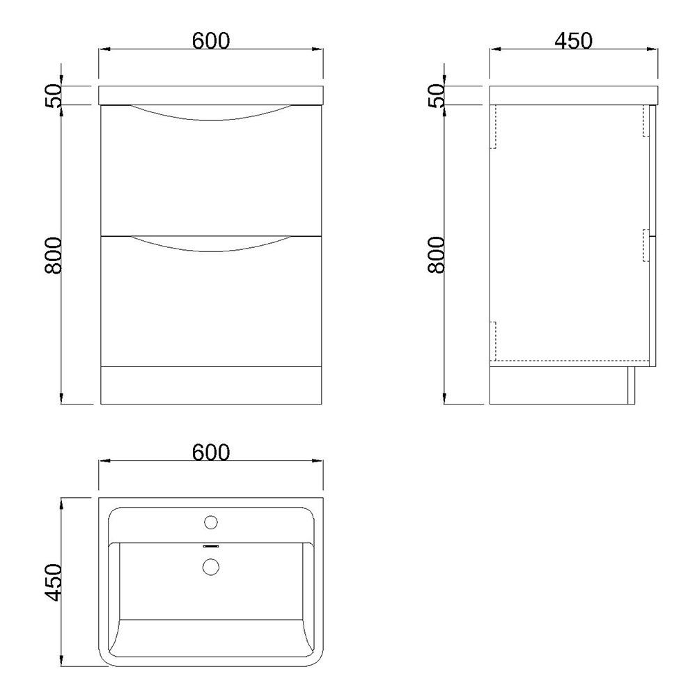 Bathroom Vanity Unit Basin Sink Storage Cabinets Furniture White Oak Gloss