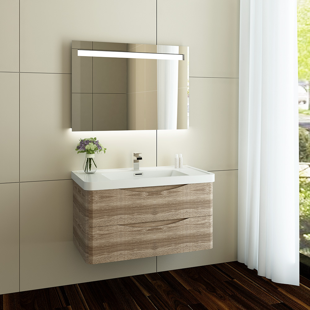 Simple  Double Twin Ceramic Basin Bathroom Furniture Tall Vanity Unit Cabinet