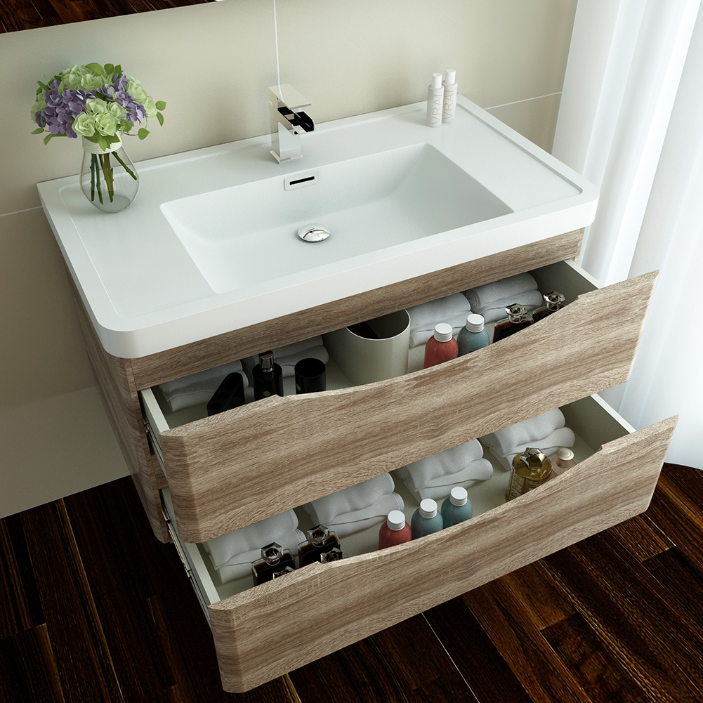 Bathroom vanity unit basin sink storage cabinets furniture for Kitchen cabinets 450mm depth