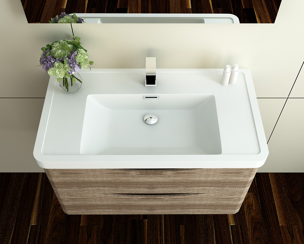 wall hung vanity unit sink basin bathroom furniture storage cabinet