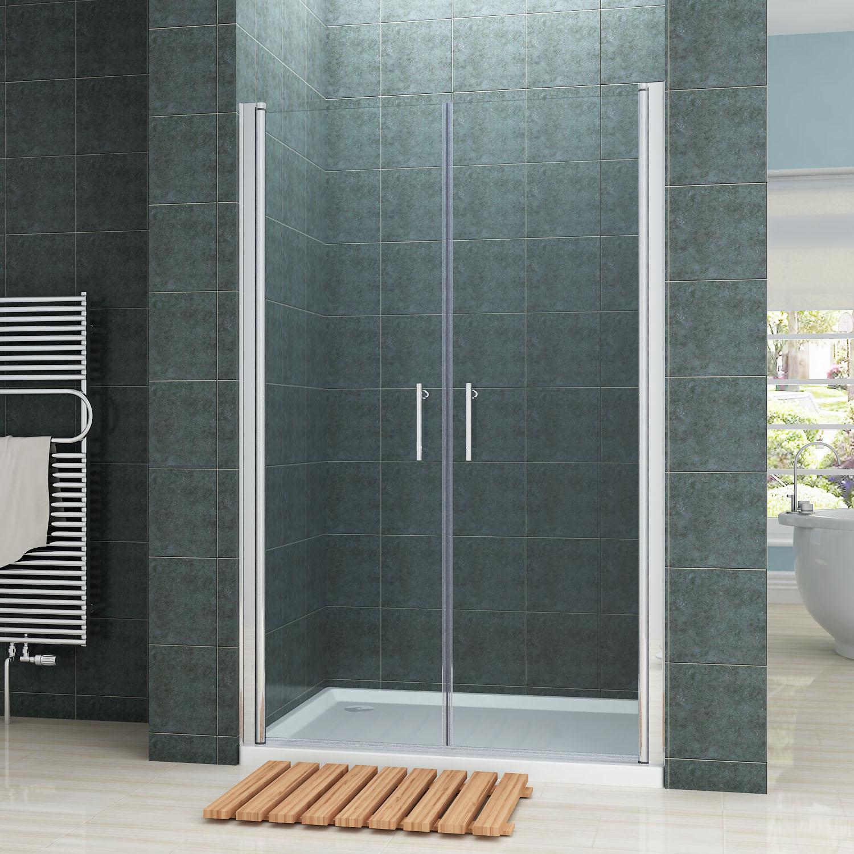 195cm nischent r doppel pendelt r duscht r dusche duschabtrennung klarglas ebay. Black Bedroom Furniture Sets. Home Design Ideas