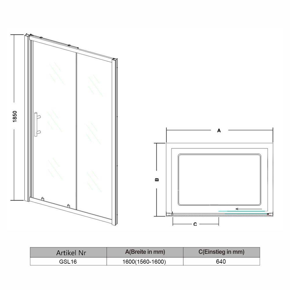 160x185cm duschkabine duscht r nischent r schiebet r. Black Bedroom Furniture Sets. Home Design Ideas