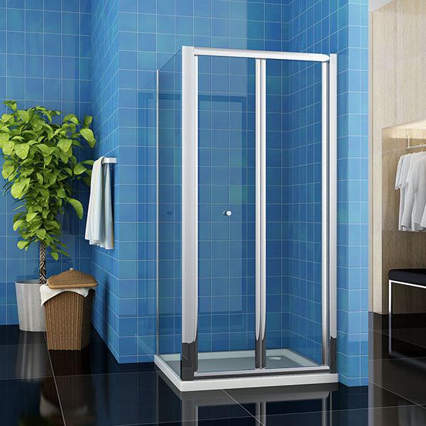 Dusche Nischent?r Rahmenlos : Faltt?r silber hochgl?nzend in 800mm erh?ltlich Seitenwand in 760mm