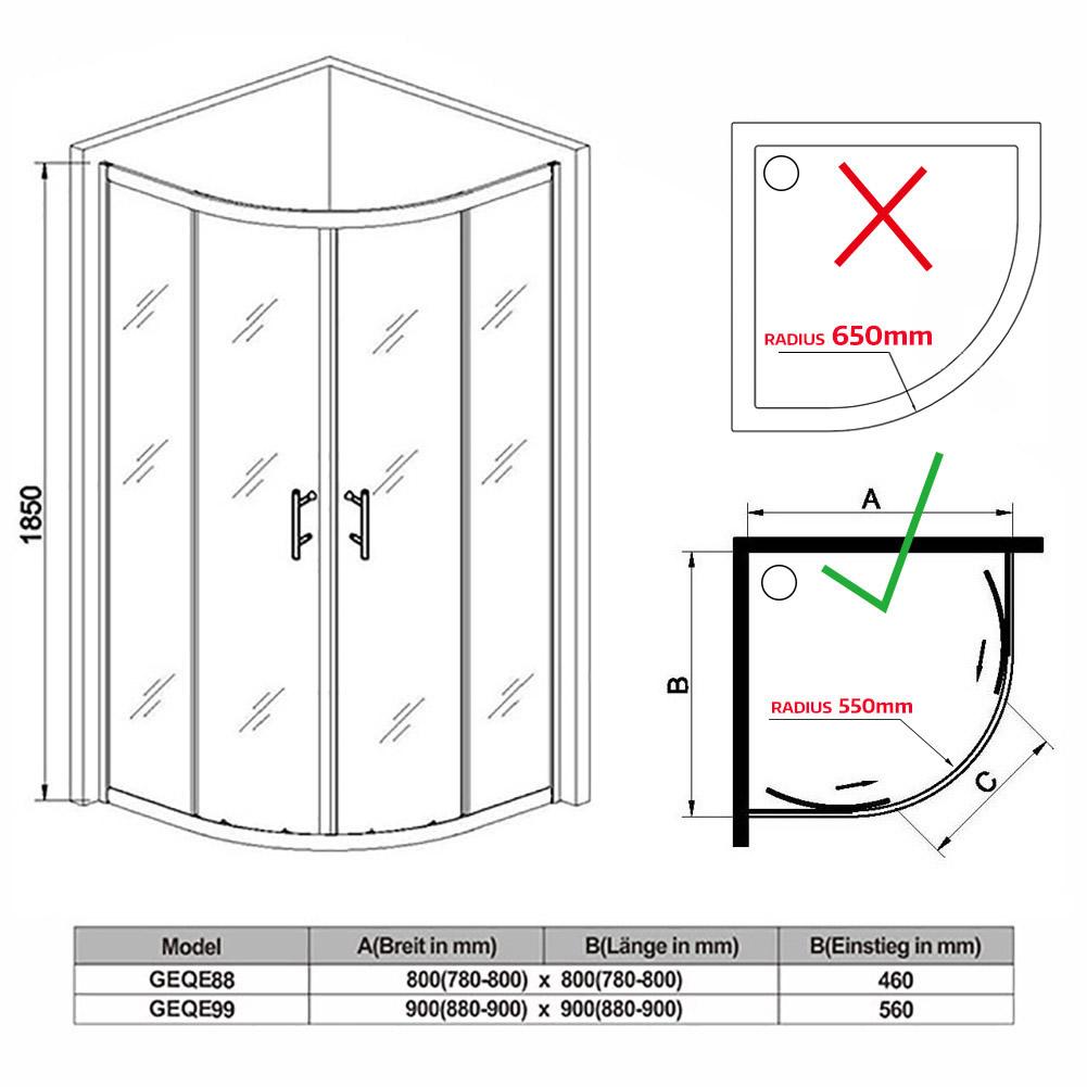 runddusche 80x80 mit duschtasse duschwanne canio. Black Bedroom Furniture Sets. Home Design Ideas