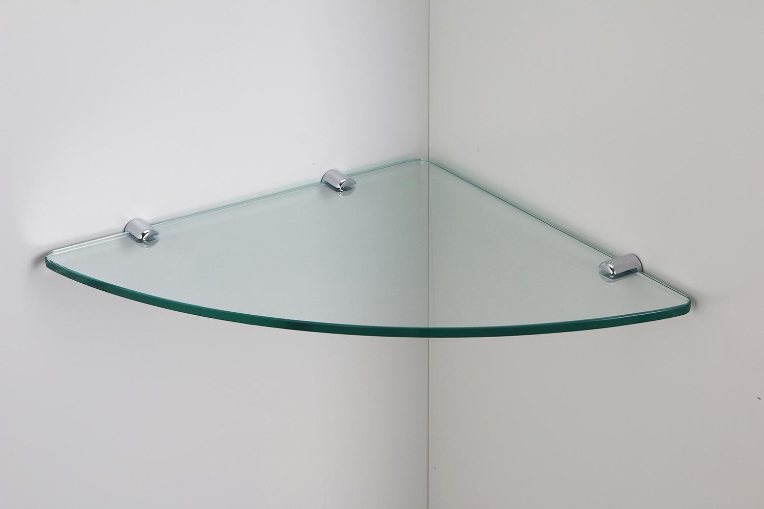 zubeh r klarglas eckregal viertelkreis 8mm mit clips ablagefl che dusche k che ebay. Black Bedroom Furniture Sets. Home Design Ideas