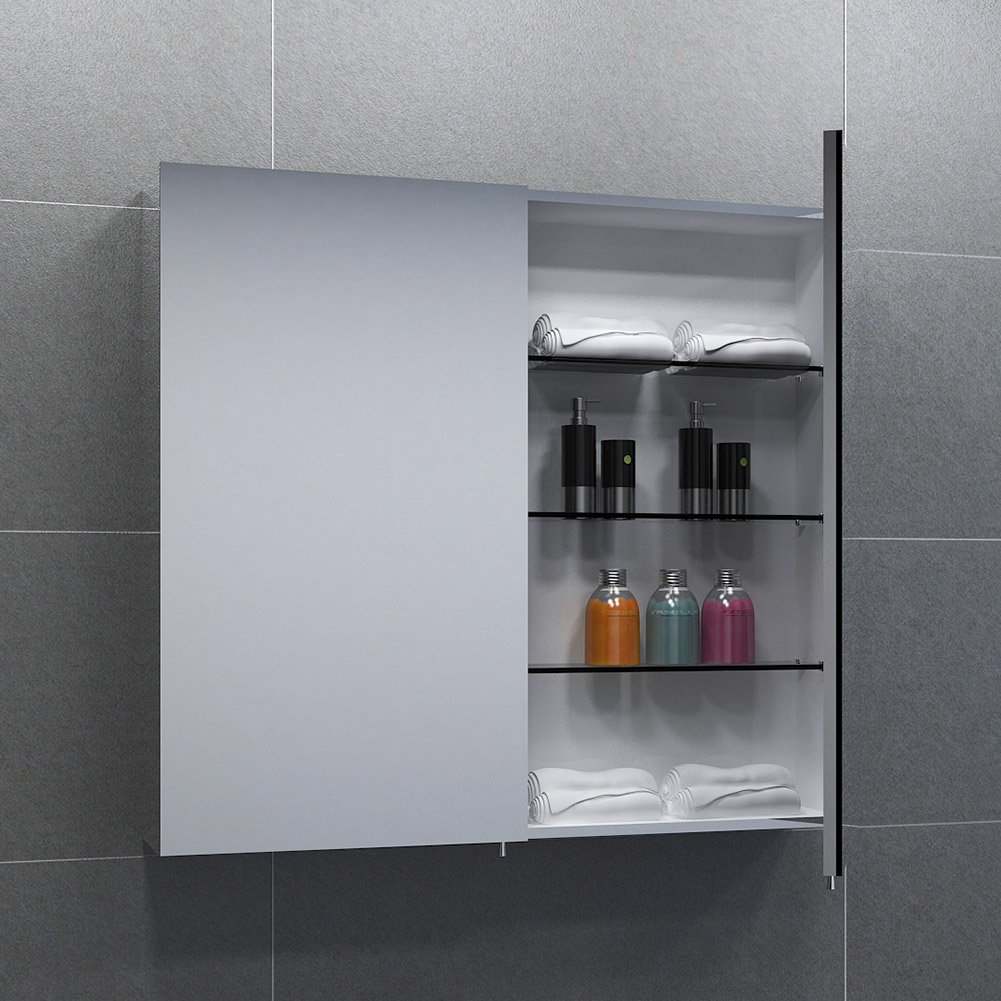 length 600mm width 670mm depth 125mm double door mirror cabinet wall
