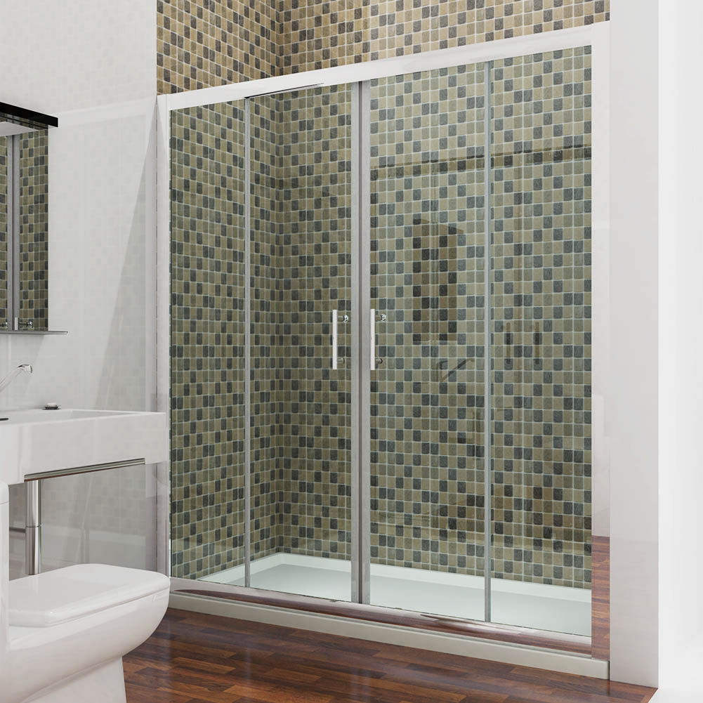 Double sliding shower door glass screen walk in cubicle for 1300 sliding shower door
