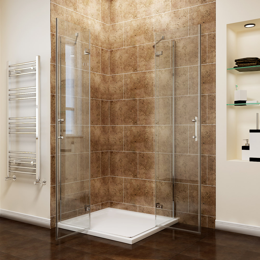 Frameless square corner entry shower enclosures cubicle pivot door with tray ebay - Shower cubicles for small spaces ...