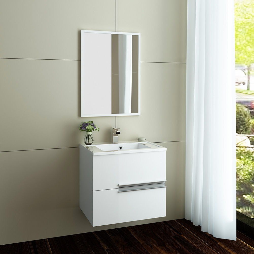 gloss white wall hung vanity unit and basin sink bathroom cabinet