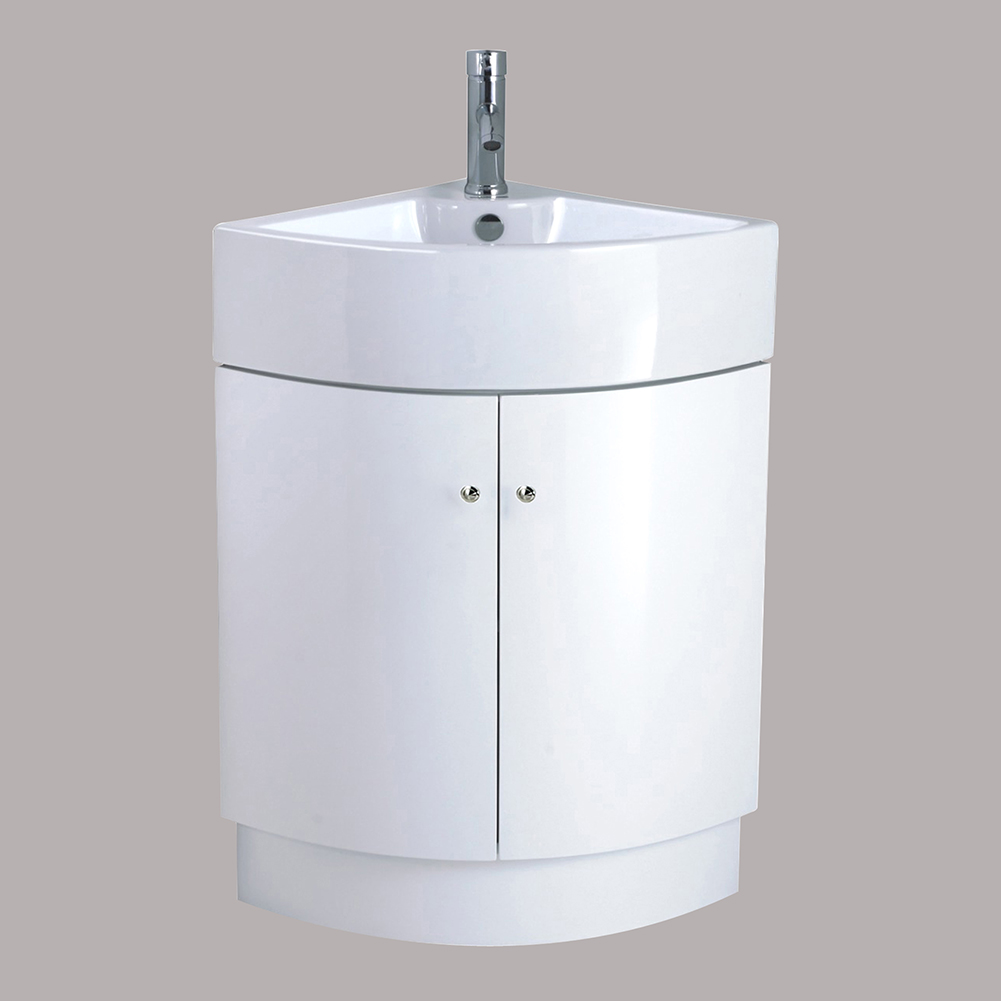 Bathroom corner vanity unit sink basin ceramic floor for Floor standing corner bathroom cabinet