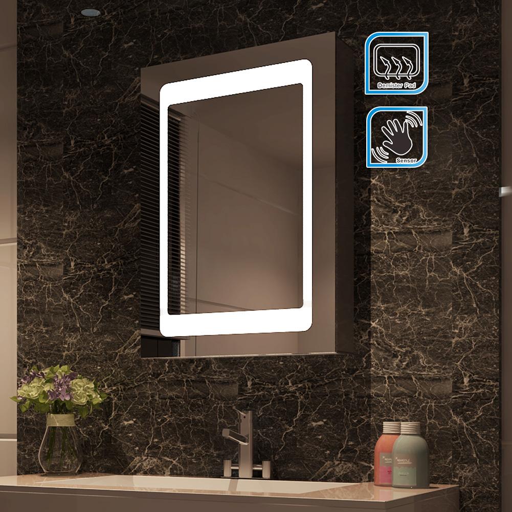 led illuminated bathroom mirror cabinet ip44 sensor