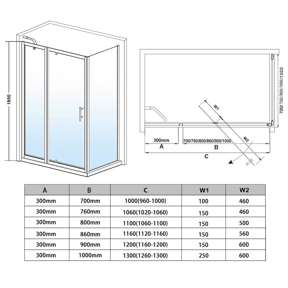 Pivot hinge shower door enclosure shower tray 1000 1060 for 1200 pivot shower door
