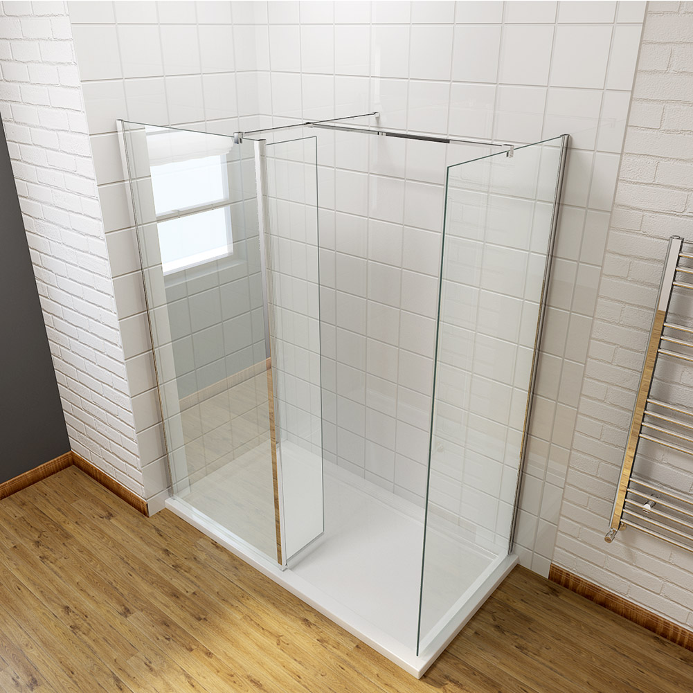 Wet room walk in shower enclosure and tray glass screen cubicle flipper panel ebay - Walk in glass shower enclosures ...