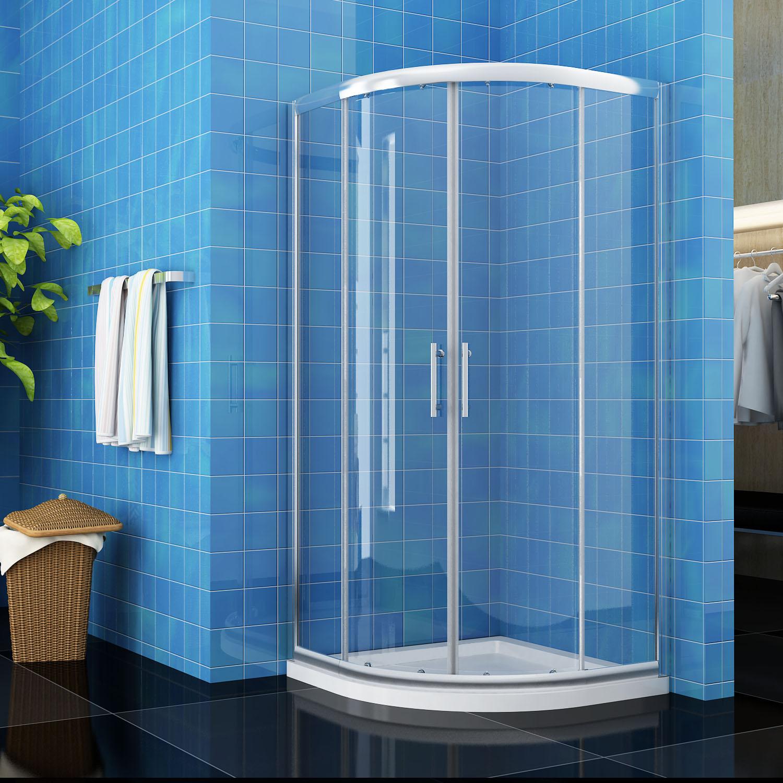 New quadrant shower enclosure walk in corner cubicle glass door stone tray waste ebay - Walk in glass shower enclosures ...