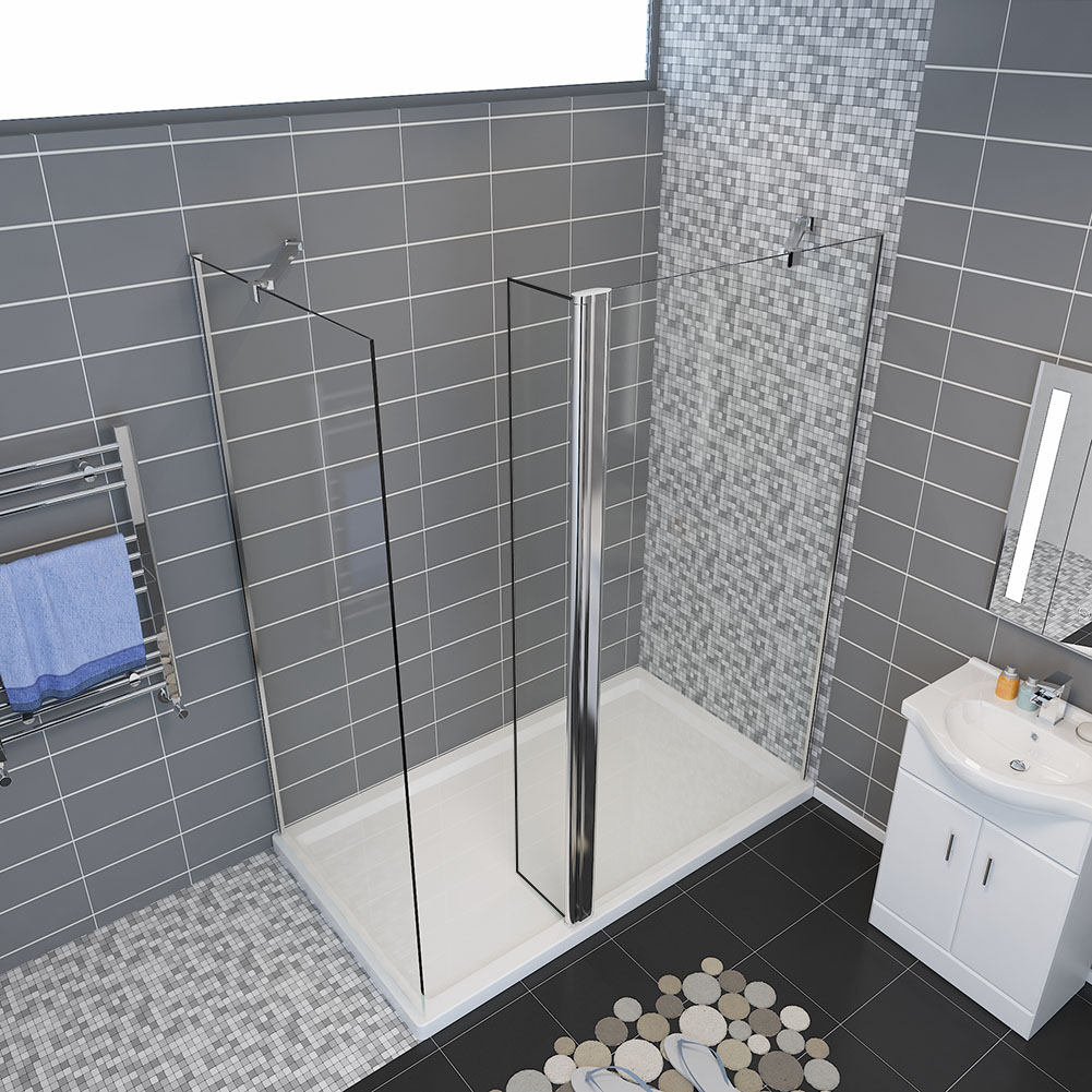 wet room walk in shower enclosure and tray glass screen. Black Bedroom Furniture Sets. Home Design Ideas