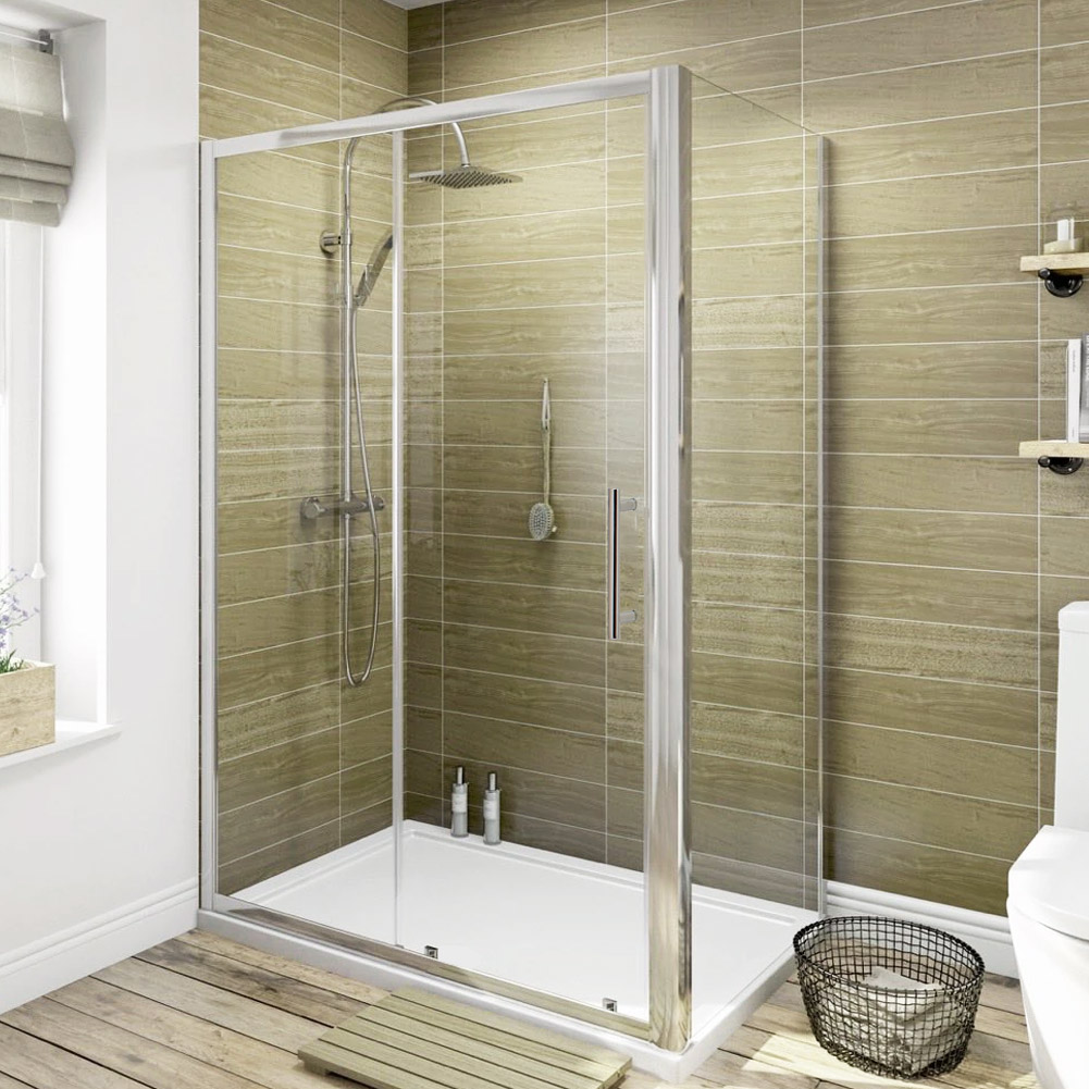 bathroom shower enclosure and tray sliding door side panel