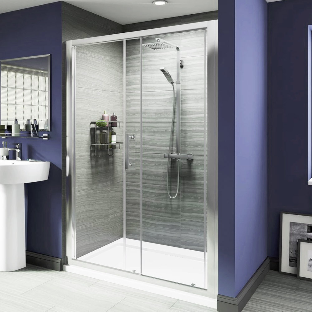 Sliding shower enclosure door walk in cubicle side panel for 1300 sliding shower door