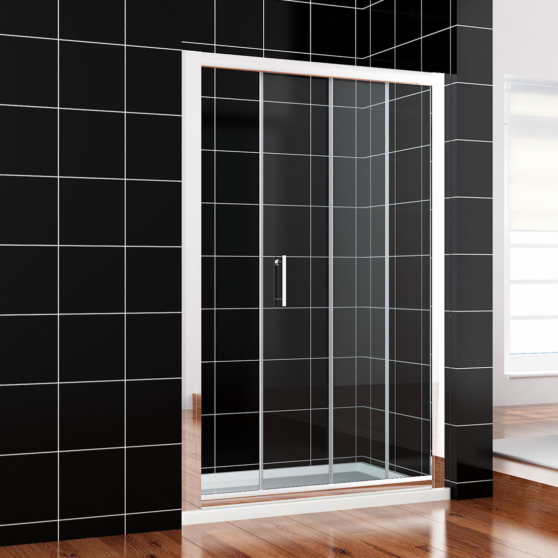 Single double sliding walk in shower enclosure screen door for Double sliding screen door