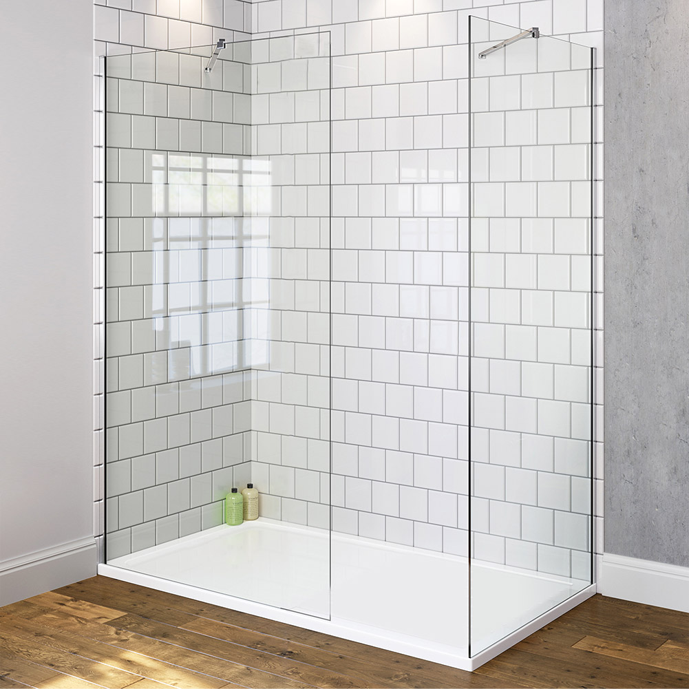 Walk in shower enclosure wet room easy clean glass screen for Wet room shower screen 400mm