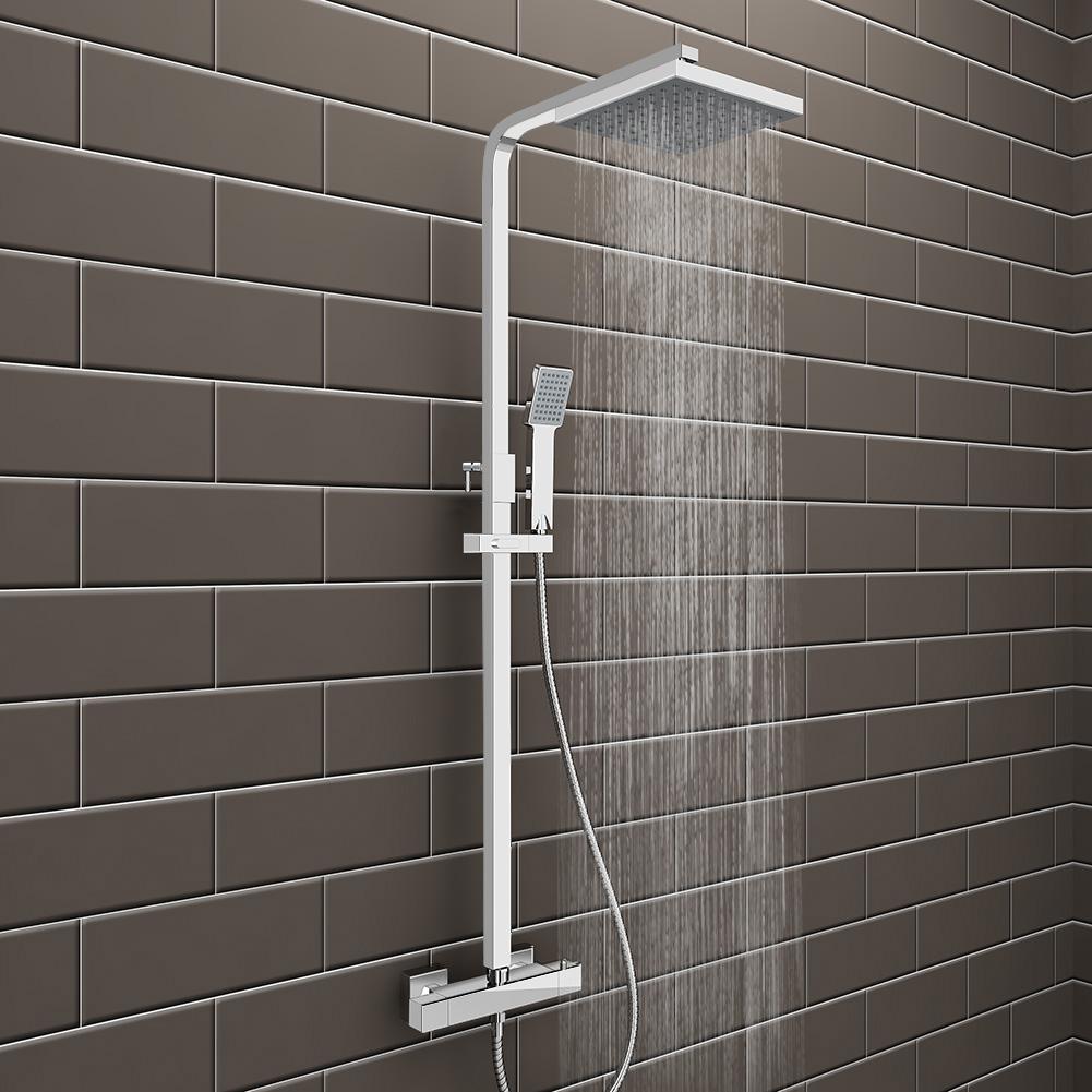 Twin Head Thermostatic Shower Mixer Chrome Bathroom Bath