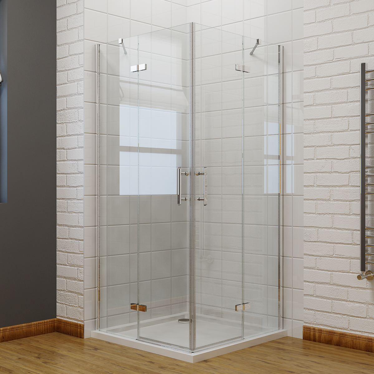 Frameless Hinge Corner Entry Shower Enclosure Glass Screen Walk In ...