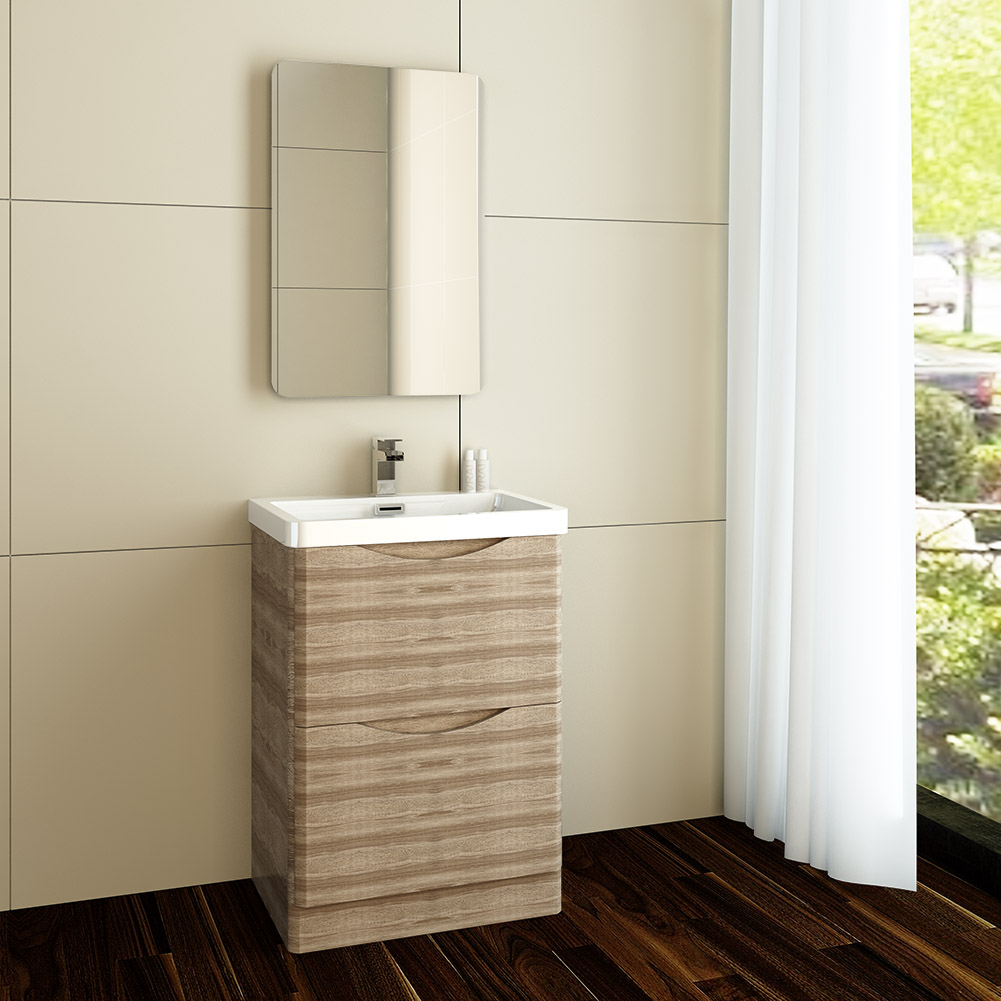 Bathroom furniture vanity unit 600mm sink basin oak for Floor standing bathroom furniture
