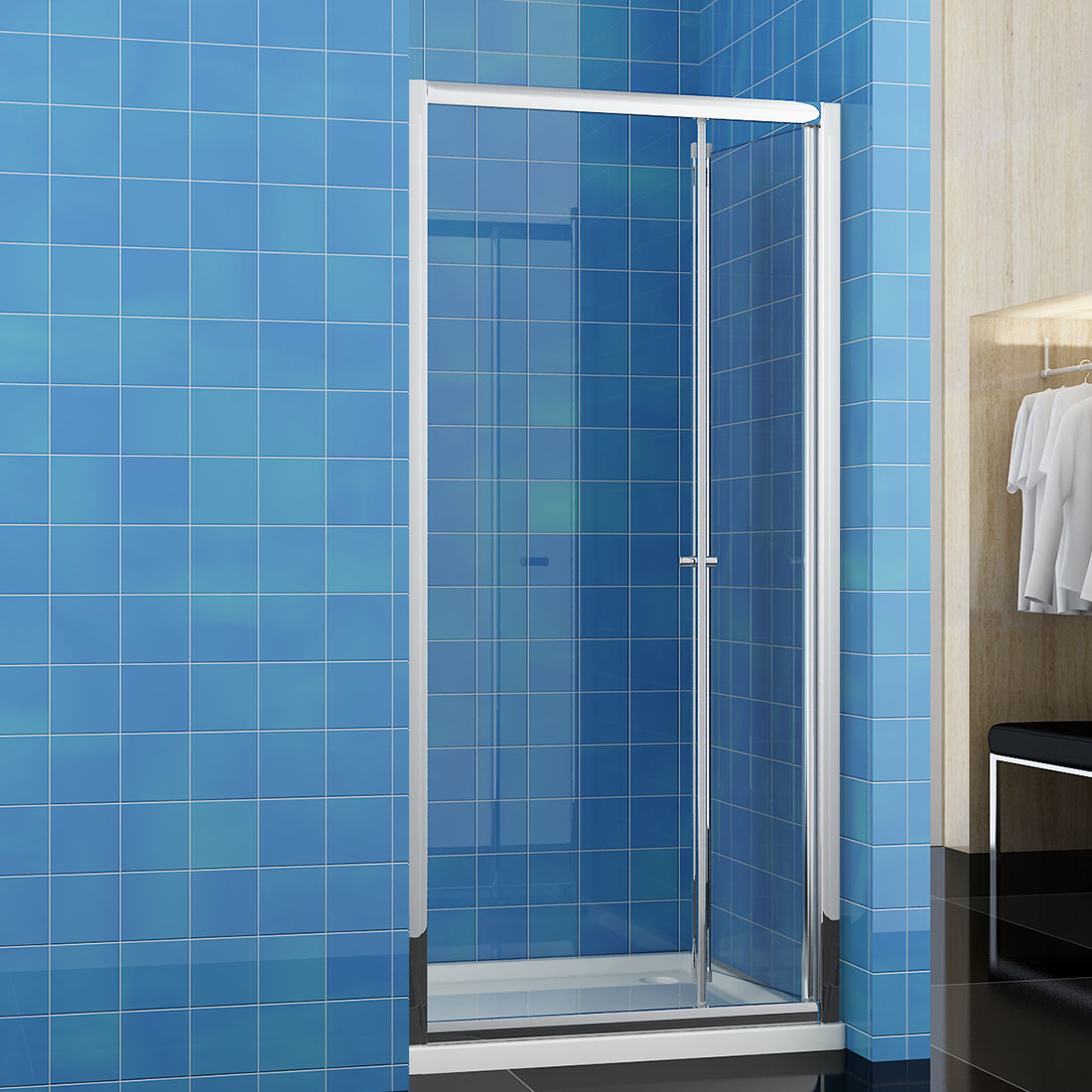 Bifold Shower Door Enclosure Glass Screen Cubicle and Tray Free ...