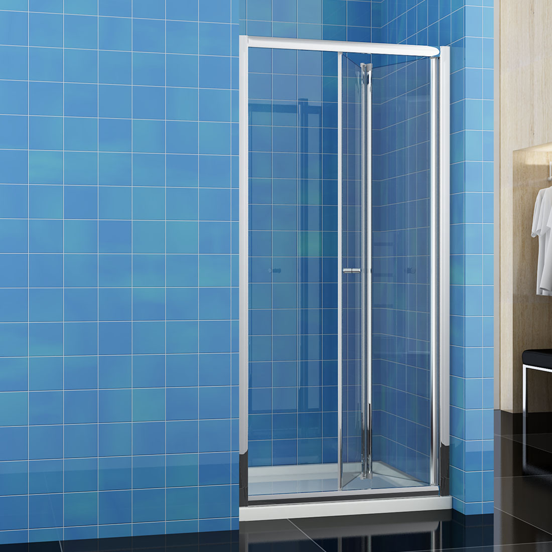 Bifold Shower Door Enclosure Glass Cubicle Screen and Tray Bathroom ...