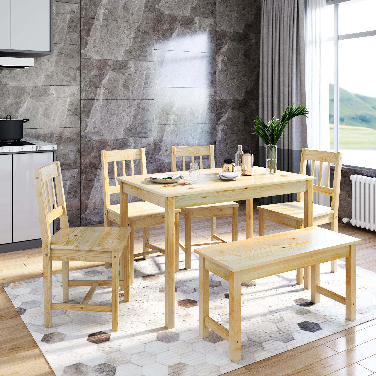 dining table chairs and bench set modern simple kitchen