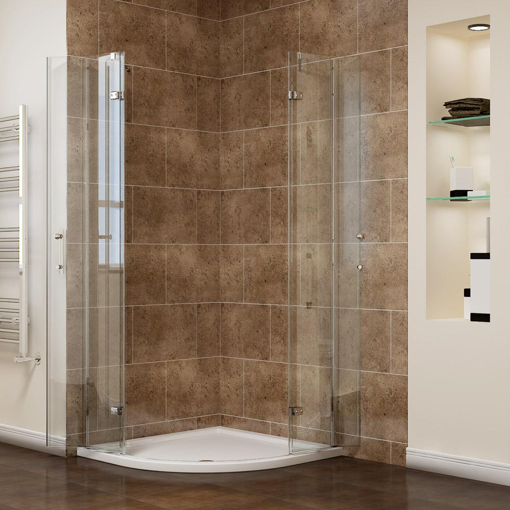 Frameless Quadrant Shower Enclosure Cubicle Pivot Hinged