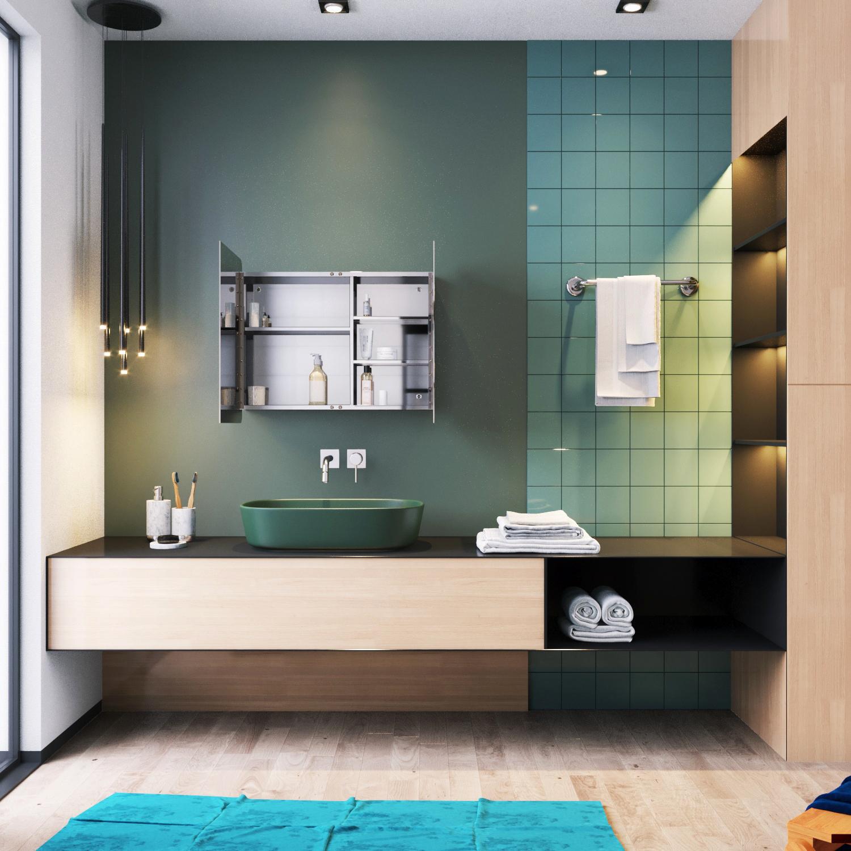 800mm Bathroom Mirror Cabinet Modern 2 Door Storage Wall ...