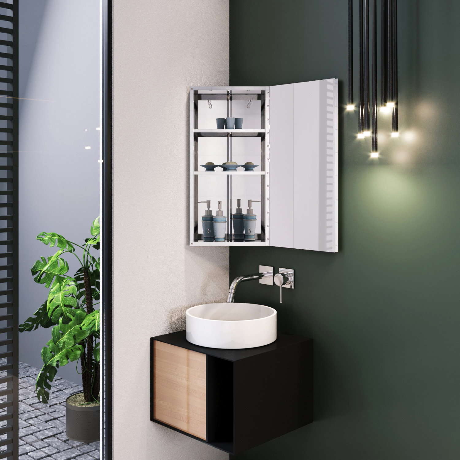 Wall Hung Bathroom Corner Mirror Cabinet Stainless Steel ...