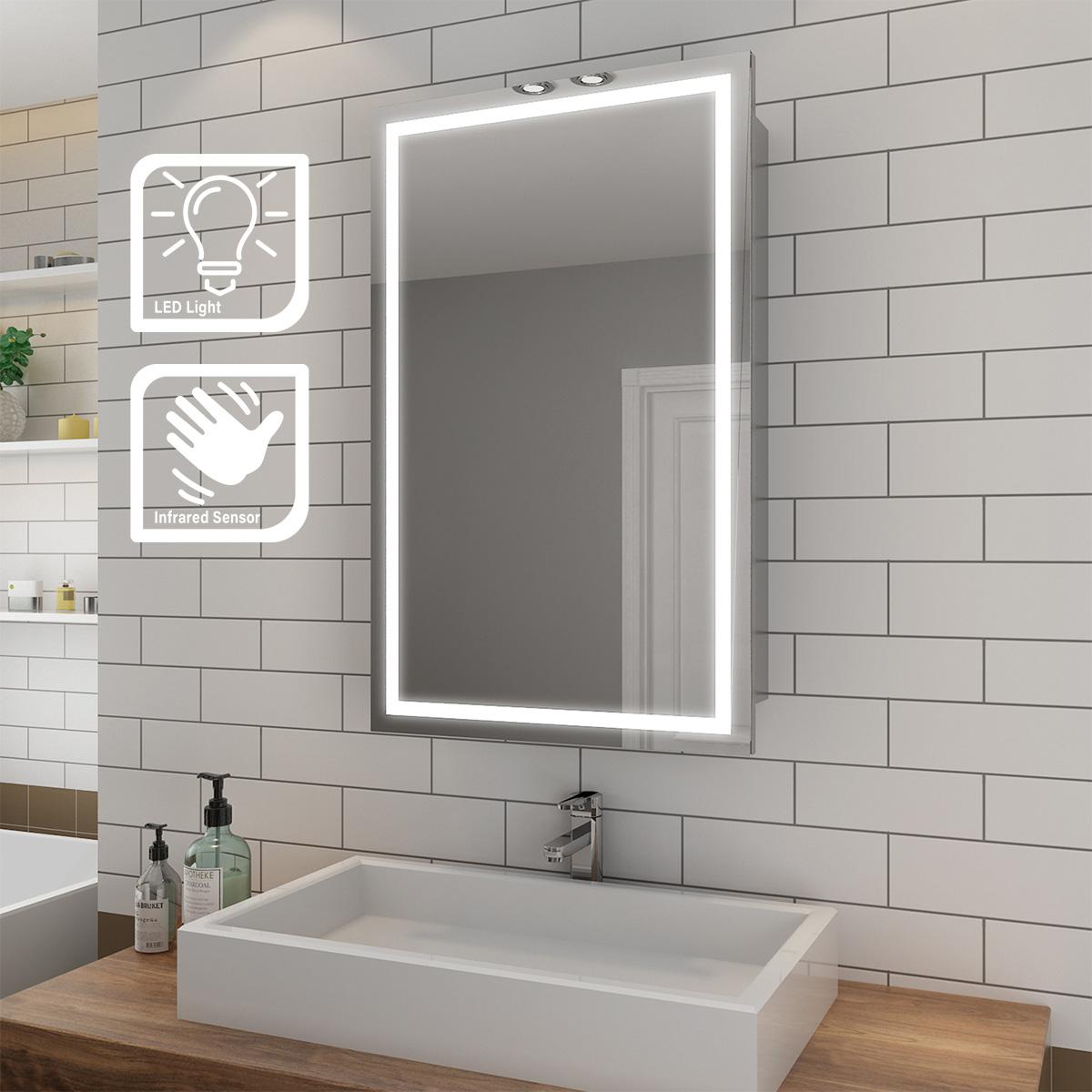 Sliding Door Led Light Up Bathroom Mirror Cabinet Shelf Wall Hanging Sensor 692456166531 Ebay