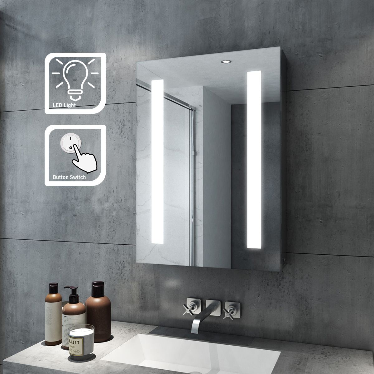Details about Modern Bathroom Mirror Cabinet With Storage/Demister/Sensor  Switch Multiple Size