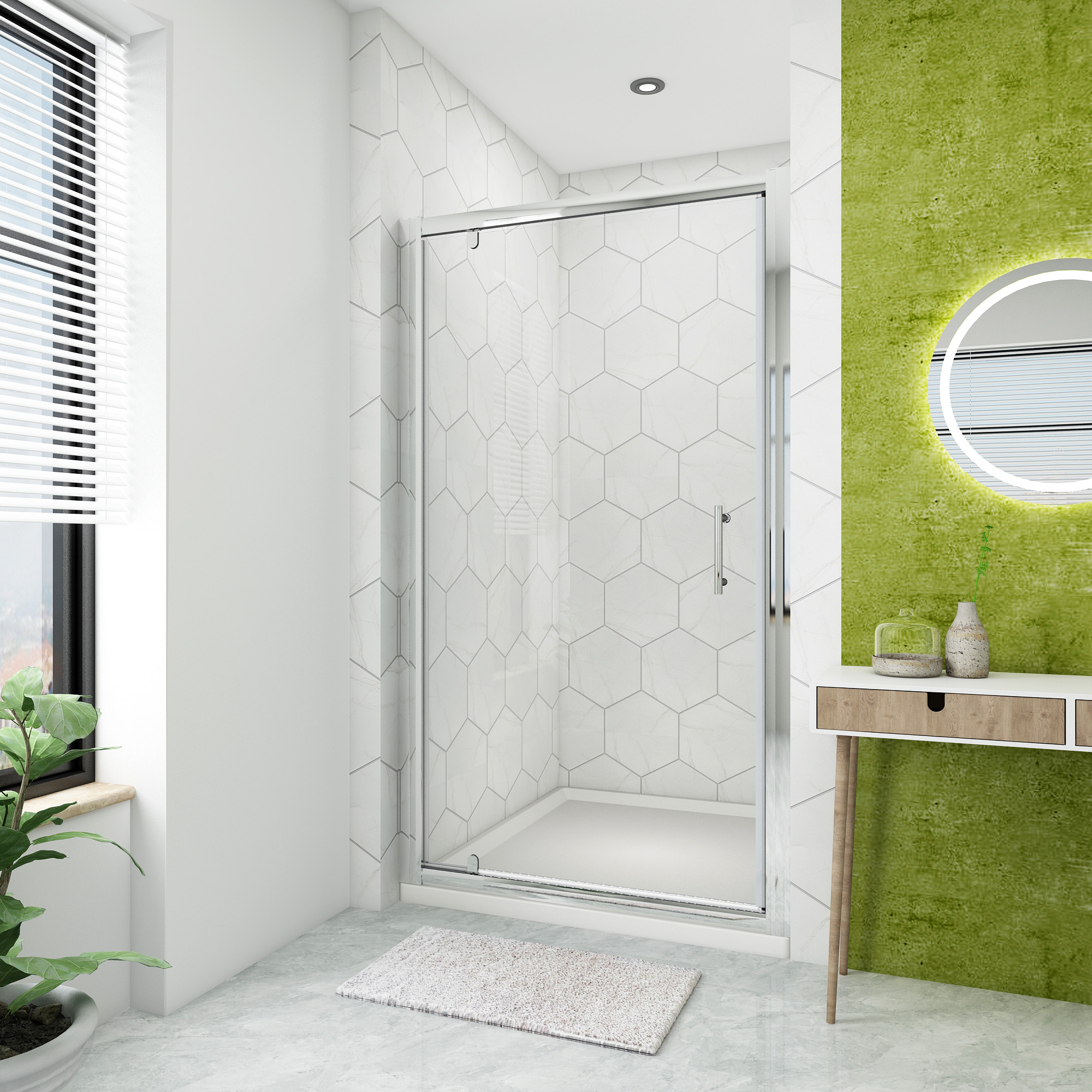 Home Garden Store 900mm Frameless Pivot Shower Door 6mm