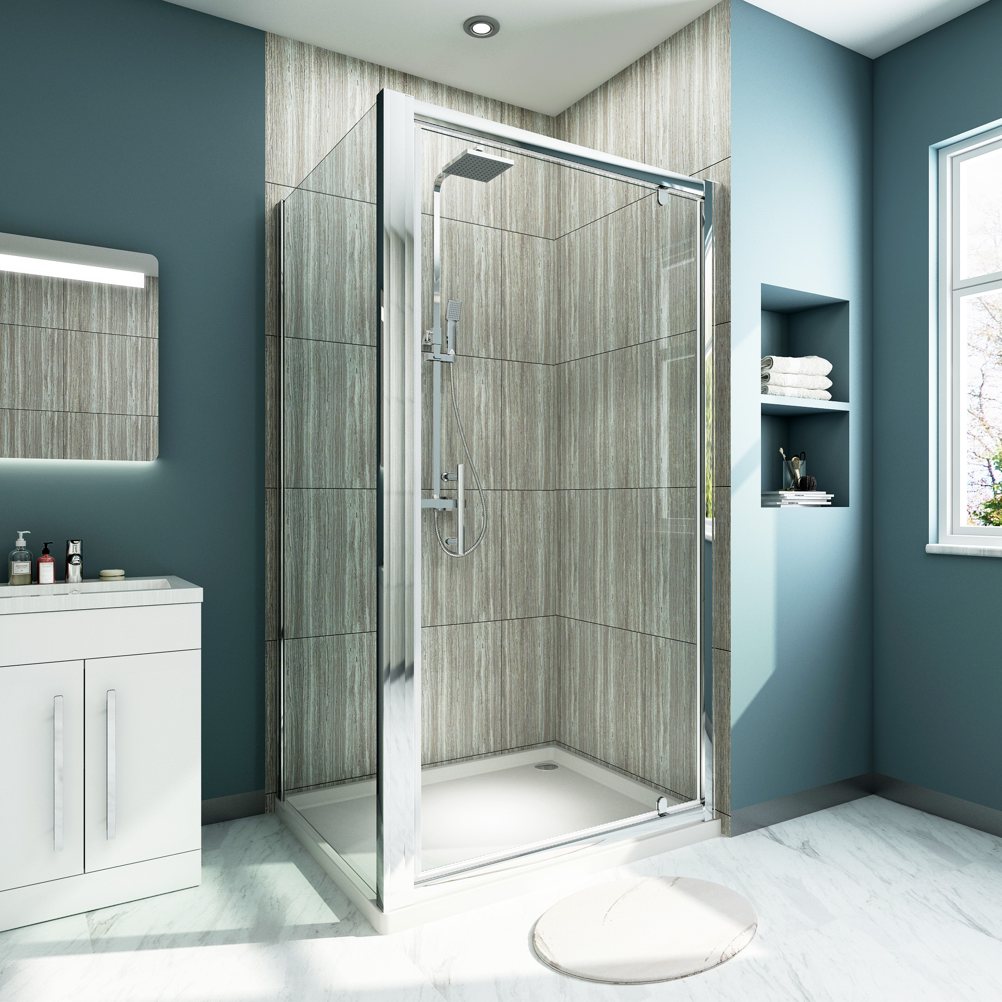 Details About Pivot Hinge Shower Enclosure Cubicle Safety Glass Door Side Panel And Stone Tray