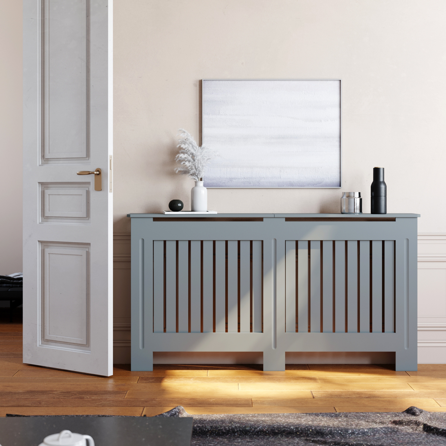 Large Radiator Cover Modern Grey Mdf Wood Cabinet Vertical Grille Home Decor Ebay